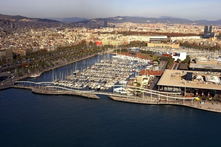 Panoramic of Port of Barcelona, Rambla de Mar, Spain photo