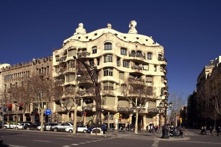Facade of Casa Mila, La Pedrera, Antonio Gaudi, Barcelona, Spain photo