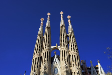 famous place: General view of La Sagrada Familia, Antonio Gaudi, Barcelona, Spain