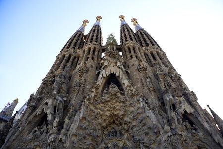sagrada: General view of La Sagrada Familia, Antonio Gaudi, Barcelona, Spain