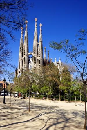 noone: Vista generale di La Sagrada Familia, Antonio Gaudi, Barcellona, Spagna