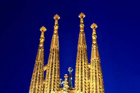 known: General view of La Sagrada Familia, Antonio Gaudi, Barcelona, Spain