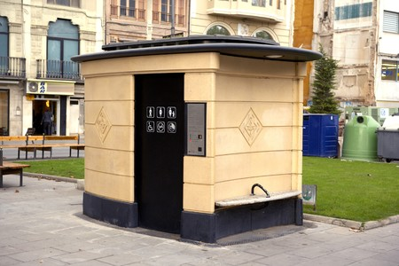 forniture: Public Toilets, Barcelona, Spain Stock Photo