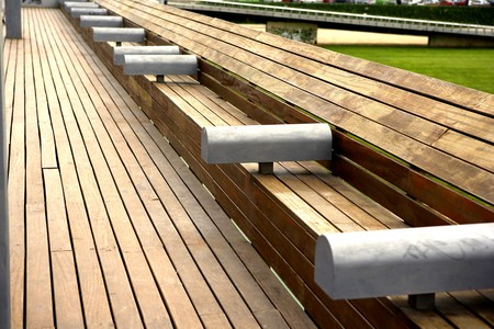 forniture: Wooden public bench, Barcelona, Spain