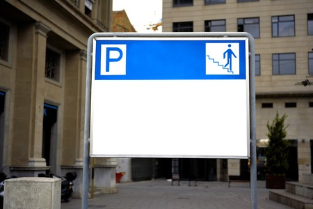 forniture: Parking and entrance sign, Barcelona, Spain Stock Photo