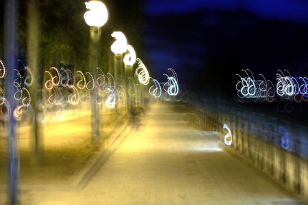Blur night view with lamps