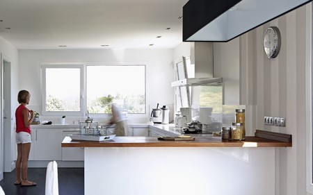 mediterranean interior: Kitchen view.