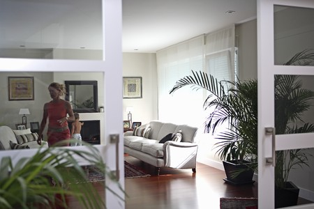 motion picture: Living-room view. Stock Photo