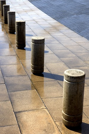 bollards: Street flooring Stock Photo