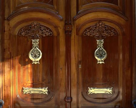 polished wood: View of an elegant wooden door