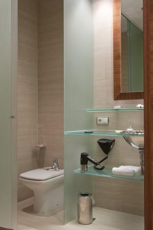 hotel bathroom: Interiors of a bathroom Stock Photo