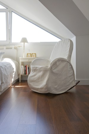 wood flooring: Interiors of a bedroom
