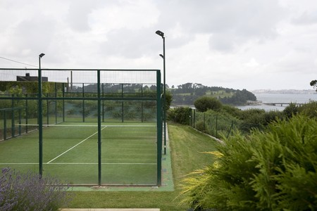 cantabria: Tennis court in a tourist resort, Somo, Santander, Cantabria, Spain