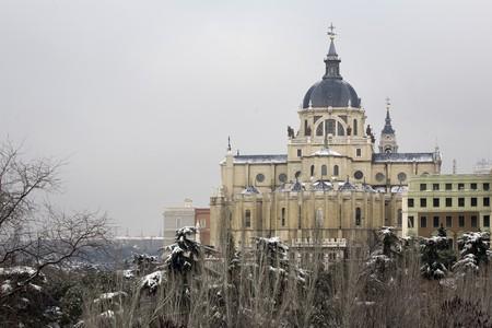 Cathedral in a city, Almudena Cathedral, Catedral De La Almudena, Madrid, Spain Stock Photo - 7175006