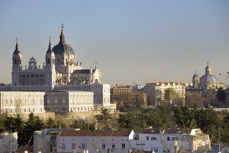 Cathedral in a city, Almudena Cathedral, Catedral De La Almudena, Royal Palace, Palacio Real, Madrid, Spain Stock Photo - 7174985