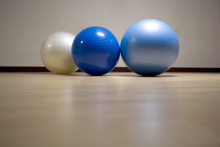 Fitness balls in a gym