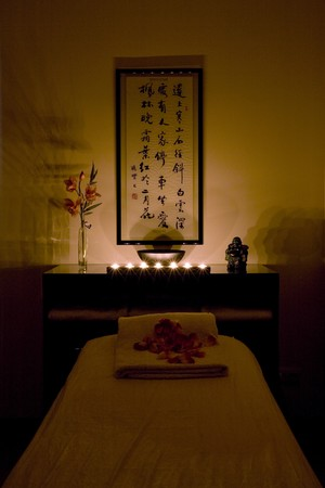 Massage table in a massage center