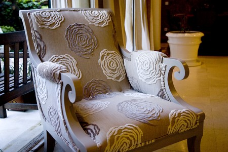 Close-up of an armchair in a living room Stock Photo