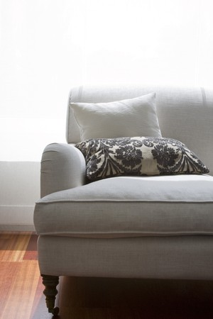furnished: Close-up of a couch in a living room