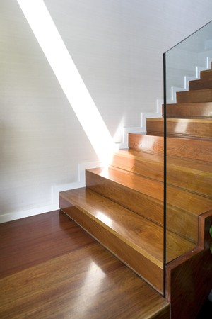 modern interiors: Staircase of a house Stock Photo