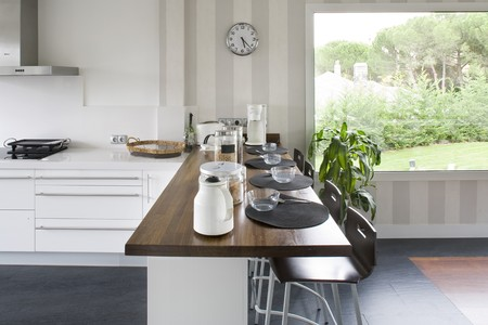 modern interiors: Interiors of a domestic kitchen