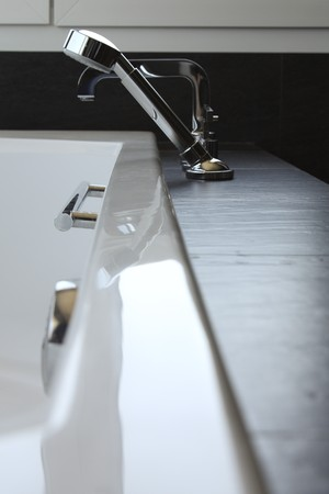 Close-up of faucets in the bathroom