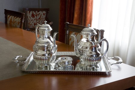 silver tray: Interiors of a dining room