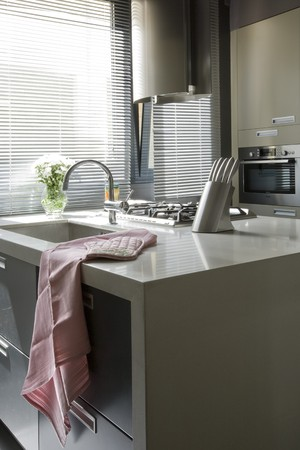 kitchen appliance: Interiors of a domestic kitchen