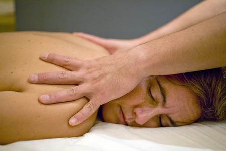 Close-up of a woman receiving a back massage Stock Photo - 7174825