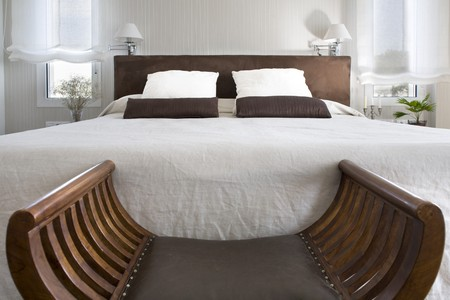 bedding indoors: Interiors of a bedroom