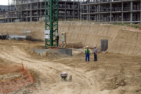 Workers at a construction site photo