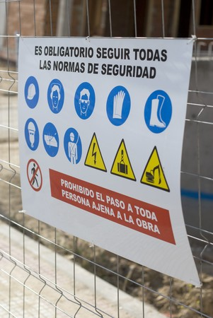 safety signs: Close-up of a warning signboard Stock Photo