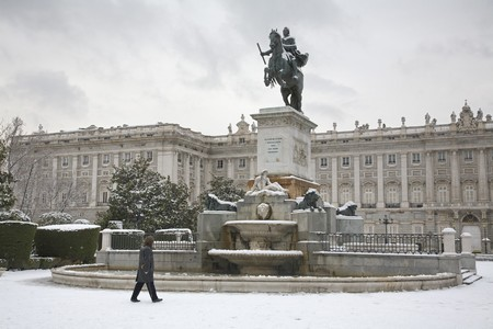 singular architecture: Equestrian statue in front of a palace, Palacio Real, Royal Palace, Plaza De Oriente, Madrid, Spain Stock Photo