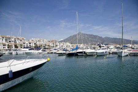 moored: Boats moored at a harbor, Puerto Banus, Costa del Sol, Marbella, Malaga Province, Andalusia, Spain