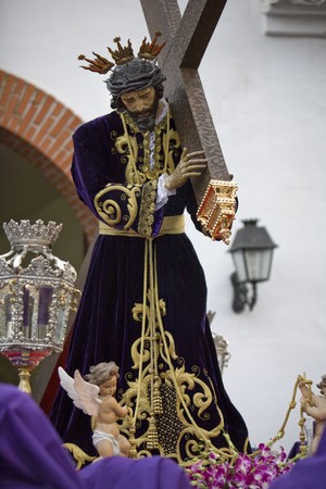 Statue of Jesus Christ in Holy Week procession, Mijas, Malaga Province, Andalusia, Spain photo