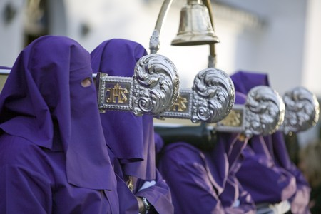 Group of people carrying a palanquin during Holy Week, Mijas, Malaga Province, Andalusia, Spain