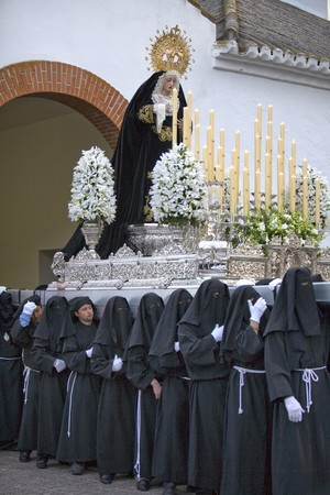 palanquin: Group of people carrying a palanquin during Holy Week, Mijas, Malaga Province, Andalusia, Spain