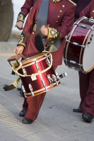 procession: Personas tocando la bater�a en procesi�n de semana Santa, Mijas, provincia de M�laga, Andaluc�a, Espa�a