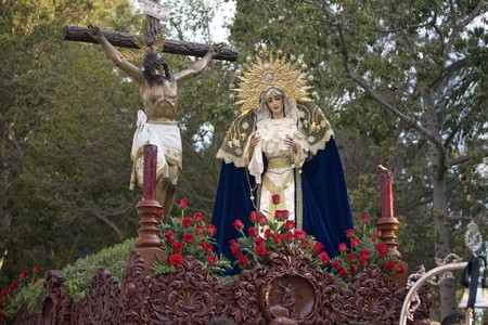 Statue of Virgin Mary and Jesus Christ in Holy Week procession, Mijas, Malaga Province, Andalusia, Spain photo