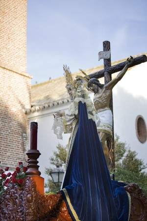 Statue of Virgin Mary and Jesus Christ during Holy Week, Mijas, Malaga Province, Andalusia, Spain photo