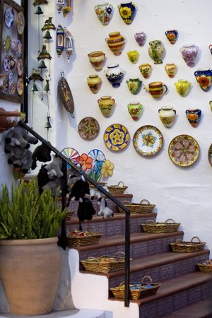 malaga: Showpieces displaying on a store, Mijas, Malaga Province, Andalusia, Spain Stock Photo