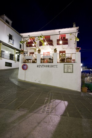 Facade of a restaurant, Mijas, Malaga Province, Andalusia, Spain photo