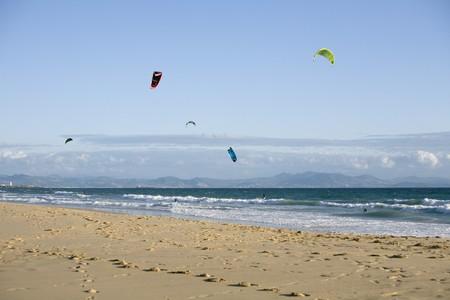 Power kites on the beach, Tarifa, Cadiz Province, Andalusia, Spain Stock Photo - 7177220