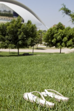 Pair of flip-flops on grass with an opera house in the background, Palau De Les Arts Reina Sofia, Valencia, Spain