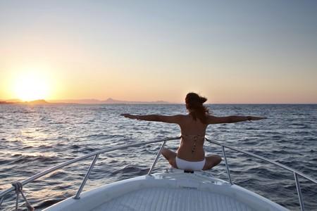 Tourist on a motorboat, Moraira, Alicante, Spain