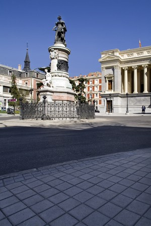 Low angle view of a statue, Museo del Prado, Estatua de Velazquez, Velazquez Statue, Prado Museum, Facade, Madrid, Spain photo