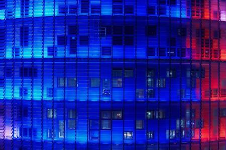 leds: Vista de la Torre Agbar en la noche, el arquitecto Jean Nouvel, Barcelona, Espa�a  LANG_EVOIMAGES