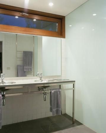 mediterranian style: View of a lit bathroom