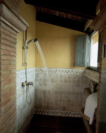 spanish tile: View of a shower in a bathroom