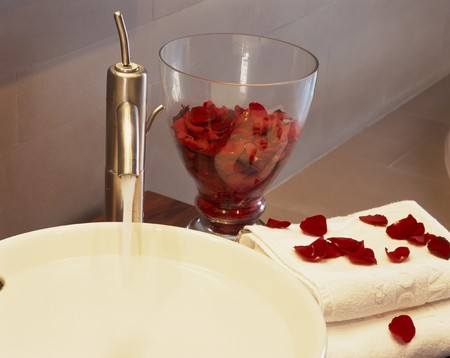 mediterranian style: View of rose petals on a towel LANG_EVOIMAGES